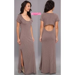 FP Odessa Maxi Taupe Open Back Cut-Out Cutout Long